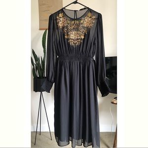 Sheer black embroidered detail dress by Zara